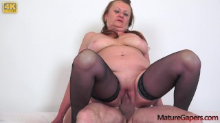 Horny granny gets fucked with big dick